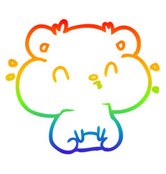Rainbow gradient line drawing hamster with full vector
