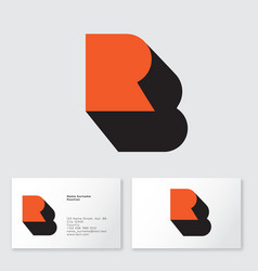 rb monogram r and b letters logo business card vector image