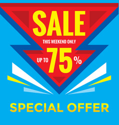 sale discount up to 75 - banner concept vector image