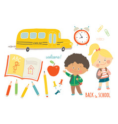 school set funny hand drawn characters and objects vector image