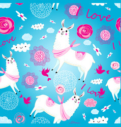 Seamless jolly pattern with lovers with alpacas vector