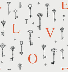seamless pattern on theme love with old keys vector image