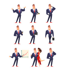 self confident businessman in various situations vector image