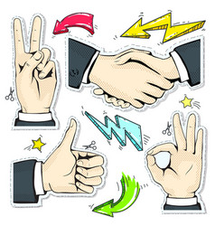 set colorful icons hand handshake like star and vector image