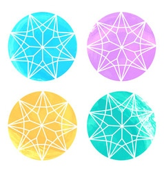 Set of 4 watercolor diamonds on white background vector