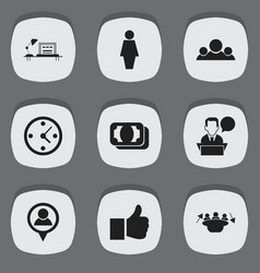 set of 9 editable trade icons includes symbols vector image