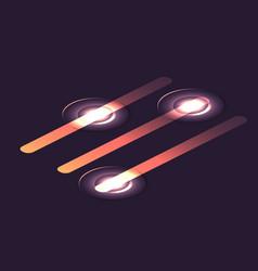 set of isometric glowing sliders infographic vector image