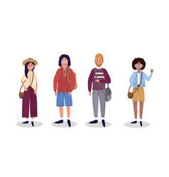 Set women and men with fashion casual clothes vector
