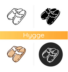 Sheepskin shearling slippers icon vector