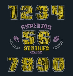 Sport numbers with wood texture vector