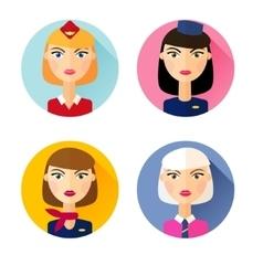 Stewardess Set of flat style icons vector
