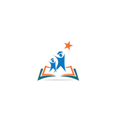 student learning education book logo vector image