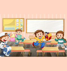 students cartoon character ready to go back home vector image