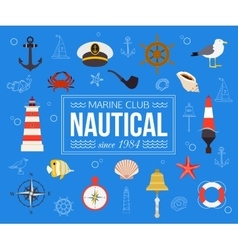 Summer nautical typographical background with vector image