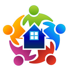 Teamwork people surrounding house home vector