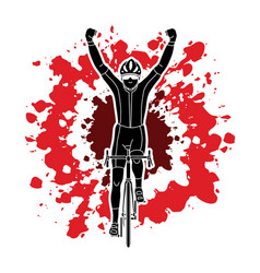 the winner bicycle riding sport man champion biki vector image