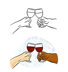 Toasting wine glasses vector