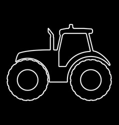 Tractor silhouette on a dark background vector