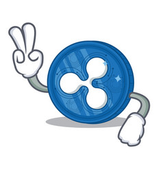 Two finger ripple coin character cartoon vector
