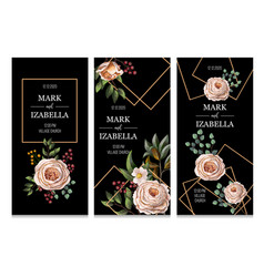 wedding invitation with english roses eucalyptus vector image