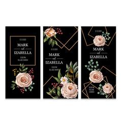 Wedding invitation with english roses eucalyptus vector