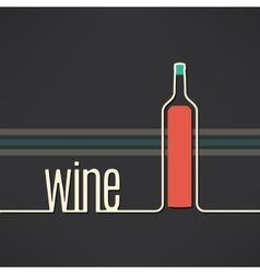 wine bottle background in modern flat vector image