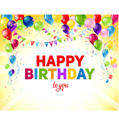 Yellow birthday card with balloons vector
