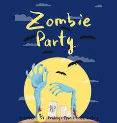 Zombie party poster with zombies hands vector
