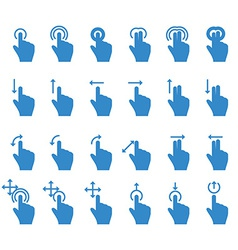 Hand Touch Icons Move Rotate Zoom vector image