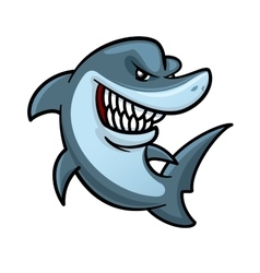 Hungry shark with toothy smile cartoon character vector image