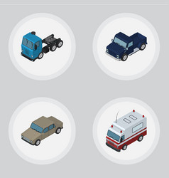 Isometric transport set of auto suv truck and vector