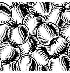 Seamless tomato background black and white vector image