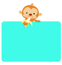cute monkey hold banana and blank board vector image