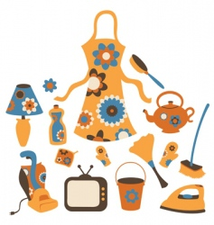 housewife accessories icons vector image