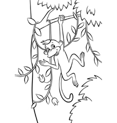 Little monkey swinging on the tree vector