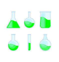 set chemical flask bottles potions for halloween vector image