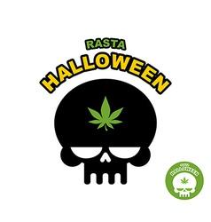 Skull with marijuana cannabis Rasta Halloween vector image vector image