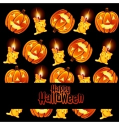 Texture of the candles and lamps pumpkin with text vector image vector image
