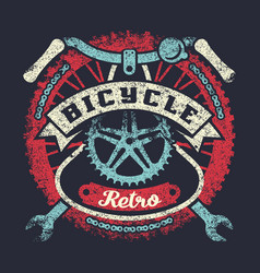 bicycle grunge vintage poster with parts vector image