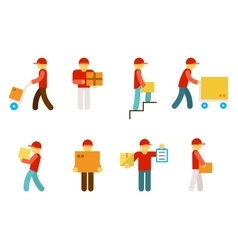 Delivery man icons vector image vector image