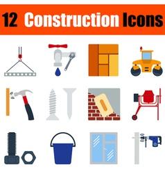 Flat design construction icon set vector image