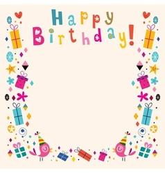 Happy Birthday border retro card vector image