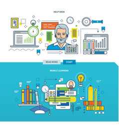 help desk mobile learning vector image
