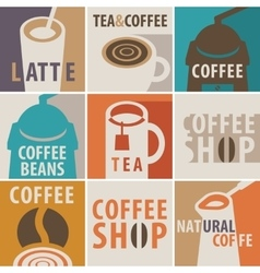 Icons on a theme of coffee and tea vector