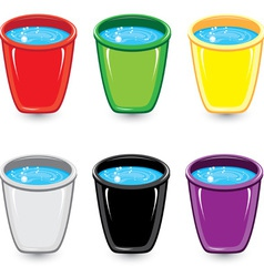 set of soapy water buckets vector image vector image