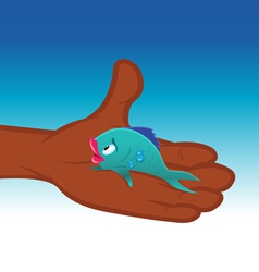fish caught vector image vector image