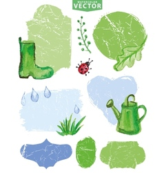 Watercolor Spring grouplabelsGreen vector image vector image