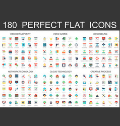 180 modern flat icons set of web development vector image