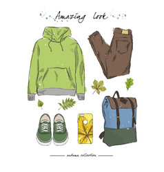 A set of autumn outfit with accessorieshoodies vector