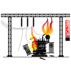 Accident at the transformer substation fire on vector